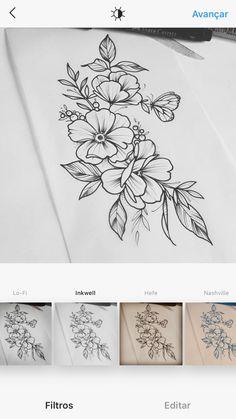 tatto Body Art Tattoos, Hand Tattoos, Small Tattoos, Sleeve Tattoos, Rose Drawing Tattoo, Tattoo Sketches, Flower Tattoo Designs, Flower Tattoos, Tatuagem Art Nouveau