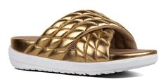 #FitFlop Fitness Schuhe Sandale - Limeted Edition Sandale von Michelle Stein. slide, gold. Clogs, Fitflop, Baby Shoes, Sneaker, Gold, Fashion, Comfortable Sandals, Shoes Sandals, Fitness Shoes