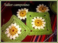 Taller campesino: Granny square con narciso (Daffodil) Acrylic wool cruelty free