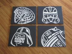 star wars art set, my hubby would love this. Star Wars Bedroom, Star Wars Nursery, Nursery Art, Star Wars Baby, Manualidades Star Wars, Star Wars Kindergarten, Boy Room, Kids Room, Decoracion Star Wars