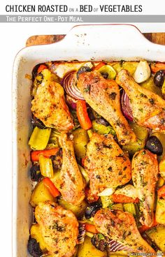 Chicken Roasted on a Bed of Vegetables – The Perfect One-Pot Meal // wishfulchef.com