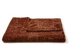 Embossed Paisley Throw, Chocolate on OneKingsLane.com