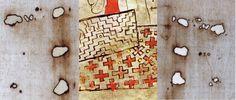 """Semelhanças entre o Codex Pray e o Sudário de Turim: existência de furos em """"L"""" (buracos de Poker) de queimaduras anteriores às do incêndio de 1532 (talvez tenha sido um fato contemporâneo para chamar tanto a atenção) / posição dos braços e mãos da imagem de Cristo: braço direito sobre o braço esquerdo – obs: na realidade é o contrario, pois o sudário é uma imagem de contato e a figura está espelhada / representação de um tecido com trama """"espinha de peixe"""" (igual à da tecelagem original)…"""