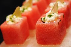 Watermelon Cubes with Goat Cheese and Pickled Watermelon Zest served on Himalayan Salt Block