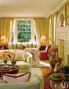 Marshall Watson and Holmes Easley's freshen traditional living room with pastels.