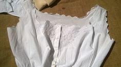 Victorian White Corset Top French Handmade Cotton Scalloped Hand Embroidered Flowers Bow Camisole Medium Clothing Costume #sophieladydeparis