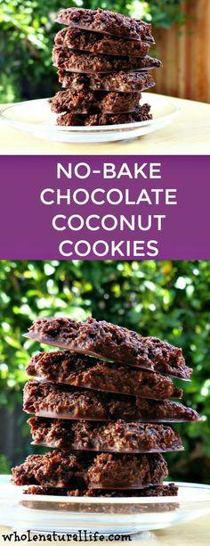 Gluten-free coconut cookies | Paleo coconut cookies | Healthy no-bake cookies | Chocolate coconut cookies