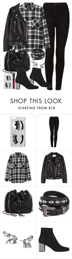 """""""Outfit with a leather jacket and black jeans for autumn"""" by ferned ❤ liked on Polyvore featuring Chiara Ferragni, Topshop, Monki, Acne Studios, STELLA McCARTNEY, Yves Saint Laurent, Lonna & Lilly and NARS Cosmetics"""