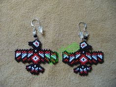 peyote beaded small North Costal Raven earrings by DebsVisions, 18$