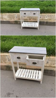We have made this fabulous and stylish table by recycling old wooden pallet boards. We have first used the pallet woods and then gave them color. This table contains two drawers. You can use it for different reasons.