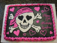 Girl Pirate Birthday Airbrushed the cake black, then hand drew the pirate in buttercream