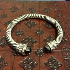 Silver and grey/back bracelet! Looks like an inspired David Yurman bracelet. Beautiful  Jewelry Bracelets