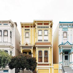 Yellow townhouse Mission District, San Francisco We've got sunshine on a cloudy day 😎 courtesy of Gate City, Mission District, Yellow Houses, Cloudy Day, Golden Color, Travel And Leisure, Travel Abroad, Golden Gate, All Pictures
