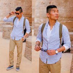 Leo Chan - J. Crew J.Crew Factory Gingham Shirt, American Apparel Thermal Henley, Gap Khaki Pants By M.Nii From Gq X Collection, Daniel Wellington Watch, Vans Sneakers, Urban Outfitters All Son Peaks Rucksack, Zerouv Sunglasses By - Temple