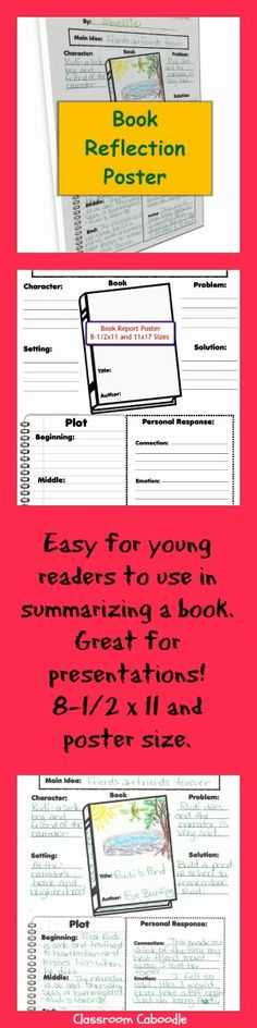 Great book report poster for readers workshop! Students summarize the book then use the poster to present. $2 http://www.teacherspayteachers.com/Product/Fiction-Reading-Reflection-Poster-for-Grades-3-6