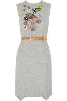 Preen Embroidered Wool-felt Dress - Lyst Love the creative take on grey. Also the back seems to have an interesting ending