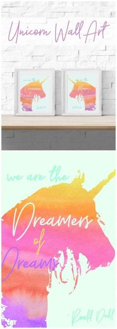 Printable Unicorn Wall Art - This printable wall art would make such a fun addition to a little girl's bedroom! I love that it incorporates some great quotes from children's literature too!