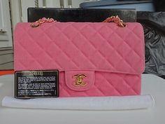 Vintage Chanel Fuchsia Quilted Denim Medium Flap Bag gold hardware