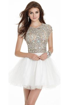 Beaded Short Sleeve Tulle Prom Dress- Findress.com