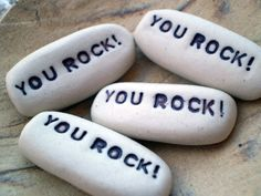 You Rock!  Pocket charms are a great inspirational message. They made with porcelain clay and have a word stamped into them. They make