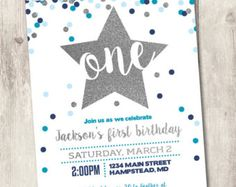 boy first birthday invite 1st birthday by HeatherHughesDesign
