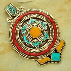 UP1019 Nepalese Artisan Handmade Turquoise Coral Yellow Resin Pendant from Nepal