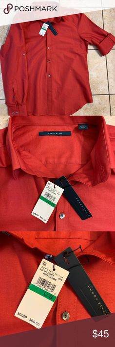 Perry Ellis premium shirt RED My fav perry Ellis RED shirt Premium quality brand new with tags full sleeve with a option tie down for half sleeve as shoe in the pic Check my other listings for bundle Thanks Perry Ellis Shirts Dress Shirts Perry Ellis, Red Shirt, Dress Shirts, Half Sleeves, Polo Ralph Lauren, Shoe, Brand New, Man Shop, Tags