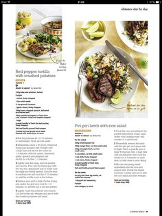 Piri Piri lamb with rice salad Crushed Potatoes, Piri Piri, Baby Potatoes, Rice Salad, Red Peppers, Slimming World, Lamb, Fries