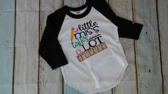 Baseball shirts, Girl raglans, Little Miss talks a lot raglan, personalized shirts, black raglan, school shirts, Girls clothes, Girls shirts