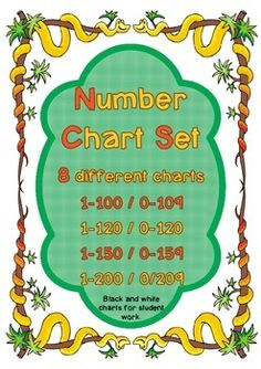8 different number charts with a jungle theme for use with students of all ages.Charts included are:1-100       0-1091-120       0-1291-150       0-1591-200       0-209Also included are black and white charts for student use in tasks or interactive notebooks.It is important for students to work with number charts that begin with 0 as well as those beginning with 1.