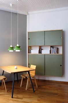craft table and wall hung craft storage with sliding doors Dining Room Storage, Desk Storage, Cupboard Storage, Cupboard Doors, Craft Storage, Tandem, Beautiful Space, Beautiful Homes, Craft Desk