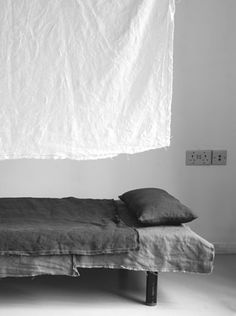 Two toned grey bedding. Get the sheets in a different shade than the pillowcases and throw