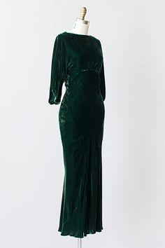 vintage 1930s green silk velvet open back gown