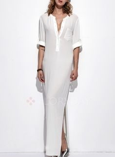 Dress - $39.99 - Cotton Blends Solid 3/4 Sleeves Maxi Dresses (1955109623)