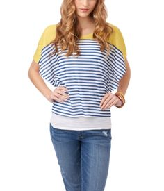 Colorblocked Striped Batwing Top    style: 5868  $29.50 USD  now : $12.00 USD aero