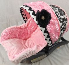 Stunning Chevron and Damask Infant Replacement Cover, Chevron Custom Baby Carseat Cover
