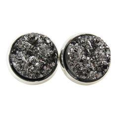 Metallic Dark Gray Faux Druzy Stud Earrings, Glitter Jewelry