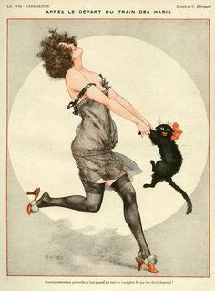 1923 La Vie Parisienne vintage illustration lady dancing with cat Crazy Cat Lady, Crazy Cats, Art Vintage, French Vintage, Vintage Clocks, Funny Vintage, Vintage Prints, Kunst Poster, Art Deco Posters