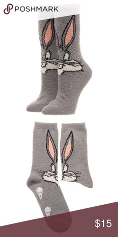 Bugs Bunny Looney Tunes Fuzzy Warm Socks SOFT! This is for 1 pair of Looney Tunes themed cozy fuzzy socks.  This cute pair of socks features Bugs Bunny!  They're fuzzy and soft and very comfortable.    Theme:  Looney Tunes - Officially Licensed Pattern: Bugs Bunny Style: Fuzzy Cozy Crew Socks Fits Sock Size:  9-11 Fits Shoe Size: 5-10 Materials: 98% Polyester, 2% Spandex Brand: Bioworld  Perfect for any fan of Looney Tunes!  Makes a great gift!  CONDITION - New  Check out my Poshmark for…