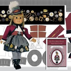 18 Doll STEAMPUNK COSTUME in Wine for by TeaTimeFabricPanels