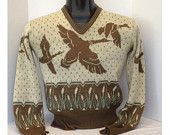 1950s Catalina Sportswear Flying Ducks Pull Over Sweater Jacquard Knit vintage Cable Knit