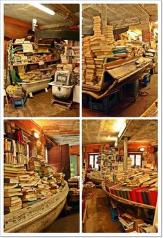 Most interesting bookstore in the world. Acqua Alta Bookstore in Venice, Italy... the tides get high here, so all the books are in boats or bathtubs to keep them dry