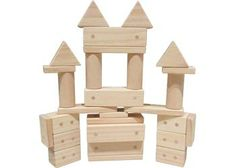 Magnetic Wooden Blocks. These magnetic wooden blocks allow for open ended play. Each solid New Zealand Pine block features hidden magnets for endless construction options. This set of magnetic wooden blocks includes a set of 30 pieces
