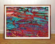 Ocean fish wall art print, abstract art, fishing art, home wall decor, apartment wall art, gift, poster, beach cottage art
