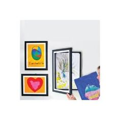 Smart collection of hinged frames to store and display art. Three sizes: 12x18, 9x12 and 8.5x11  http://www.amazon.com/dp/B004FDG5GQ/?tag=wwwefficients-20