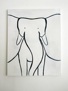 "Original Painting - 16"" x 20"" on regular 3/4"" depth canvas - The Elephant (Modern Kids & Nursery Art)"