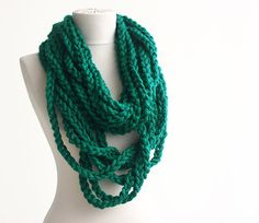Teal green crochet scarf Infinity chain scarf