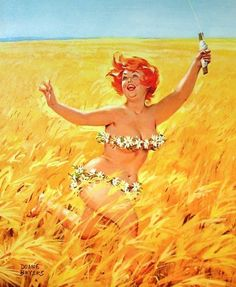 Hilda Cornfield Kite Reproduction Canvas watercolor Duane Bryers calendar illustration Pinup Wall Art print poster Vintage pin up girl Pin Up Vintage, Vintage Art, Poster Vintage, Pinup Art, Arte Pin Up, Plus Size Art, Reproduction, Belle Photo, Pin Up Girls