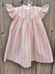Pink and Green Seersucker Dress with angel sleeve.  Love this with a monogram!
