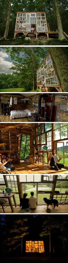 Located in the mountains of West Virginia, photographer Nick Olson and designer Lilah Horwitz have built their own enchanting retreat made out of discarded windows. The towering home away from home boasts a creative facade (. Cabin In The Woods, Into The Woods, House Windows, Cottage Windows, Windows 1, Earthship, House Built, Cabana, My Dream Home